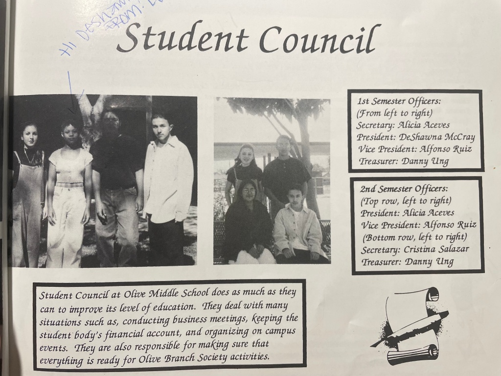 photograph from yearbook with student council members in middle school